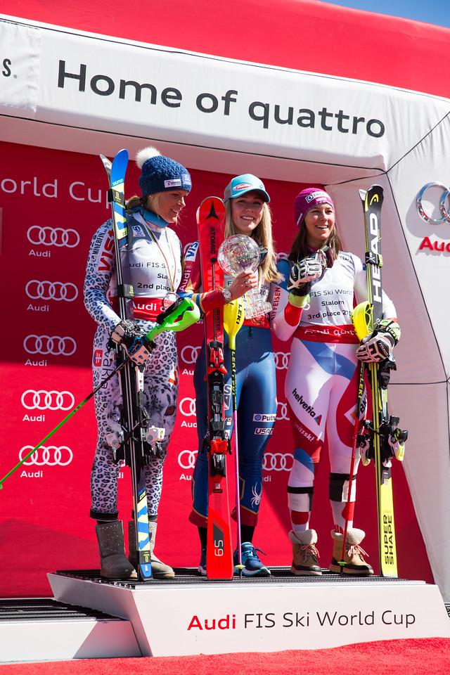 Veronika Velez Zuzulova, Mikaela Shiffrin and Wendy Holdener Overall Slalom 2017 Audi FIS Ski World Cup finals in Aspen, CO. Photo © Cody Downard