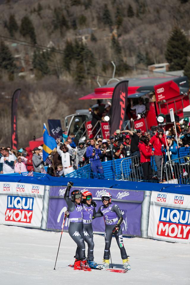 Federica Brignone, Sofia Goggia and Marta Bassino GS 2017 Audi FIS Ski World Cup finals in Aspen, CO. Photo: U.S. Ski Team