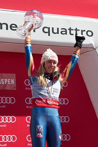 Mikaela Shiffrin 2016-17 Alpine Overall World Cup Champion Crystal Globe 2017 Audi FIS Ski World Cup finals in Aspen, CO. Photo: U.S. Ski Team