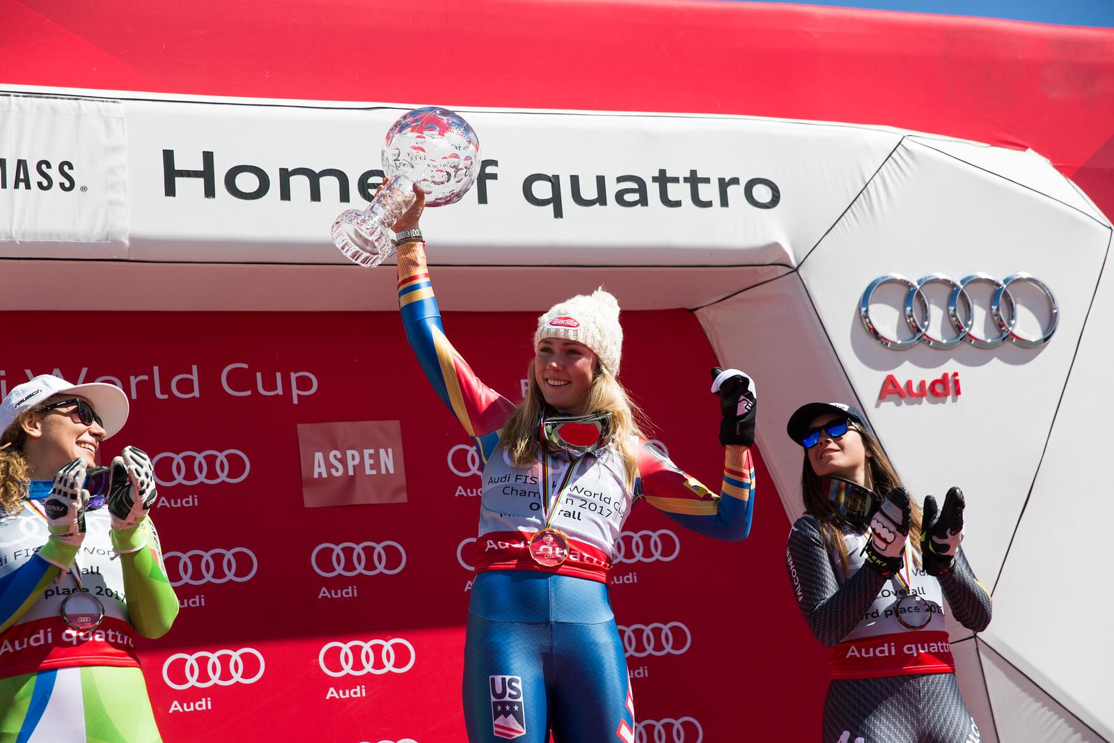 Ilka Stuhec, Mikaela Shiffrin and Sofia Goggia 2016-17 Alpine Overall World Cup Champion Crystal Globe 2017 Audi FIS Ski World Cup finals in Aspen, CO. Photo: U.S. Ski Team