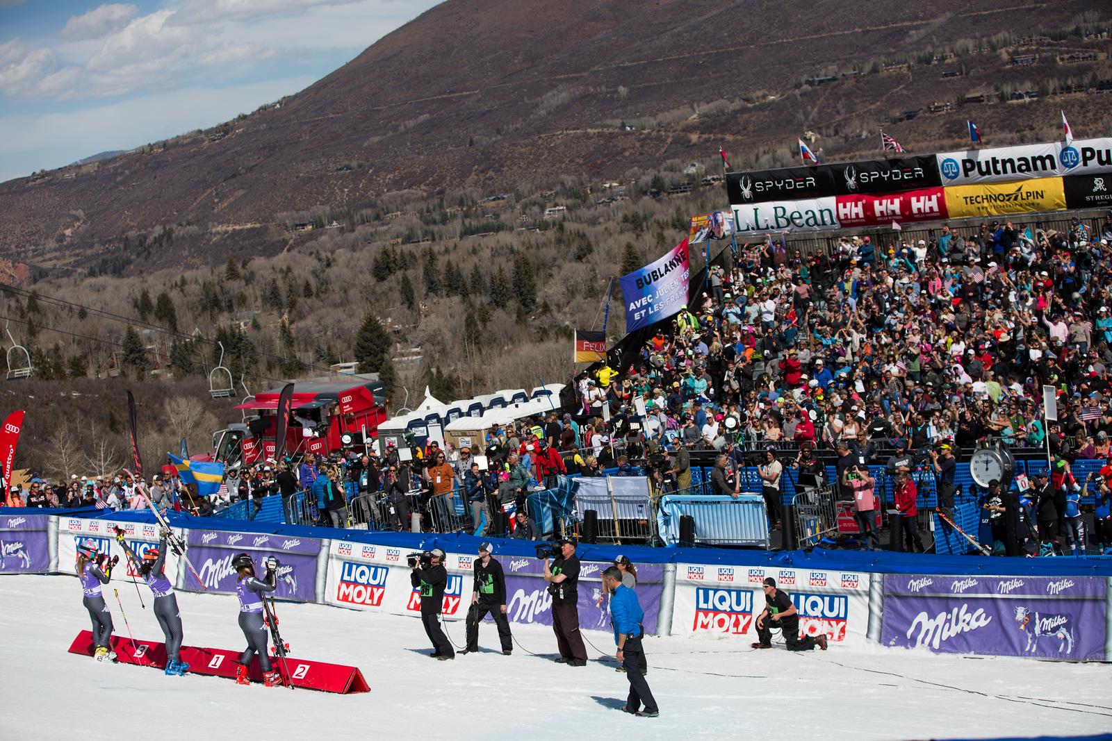 Sofia Goggia, Federica Brignone and Marta Bassino GS 2017 Audi FIS Ski World Cup finals in Aspen, CO. Photo: U.S. Ski Team