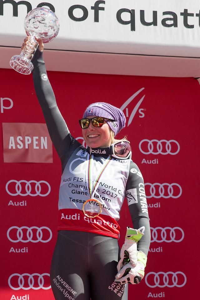 Tessa Worley GS Overall Globe  2017 Audi FIS Ski World Cup finals in Aspen, CO. Photo: U.S. Ski Team