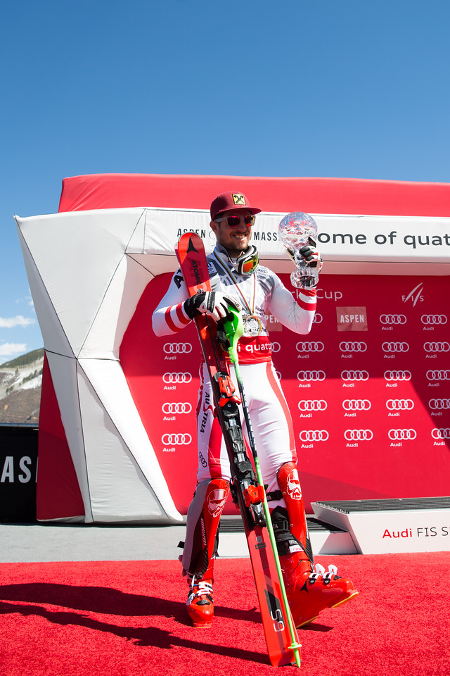 Marcel Hirscher Slalom Overall Globe 2017 Audi FIS Ski World Cup finals in Aspen, CO. Photo: U.S. Ski Team