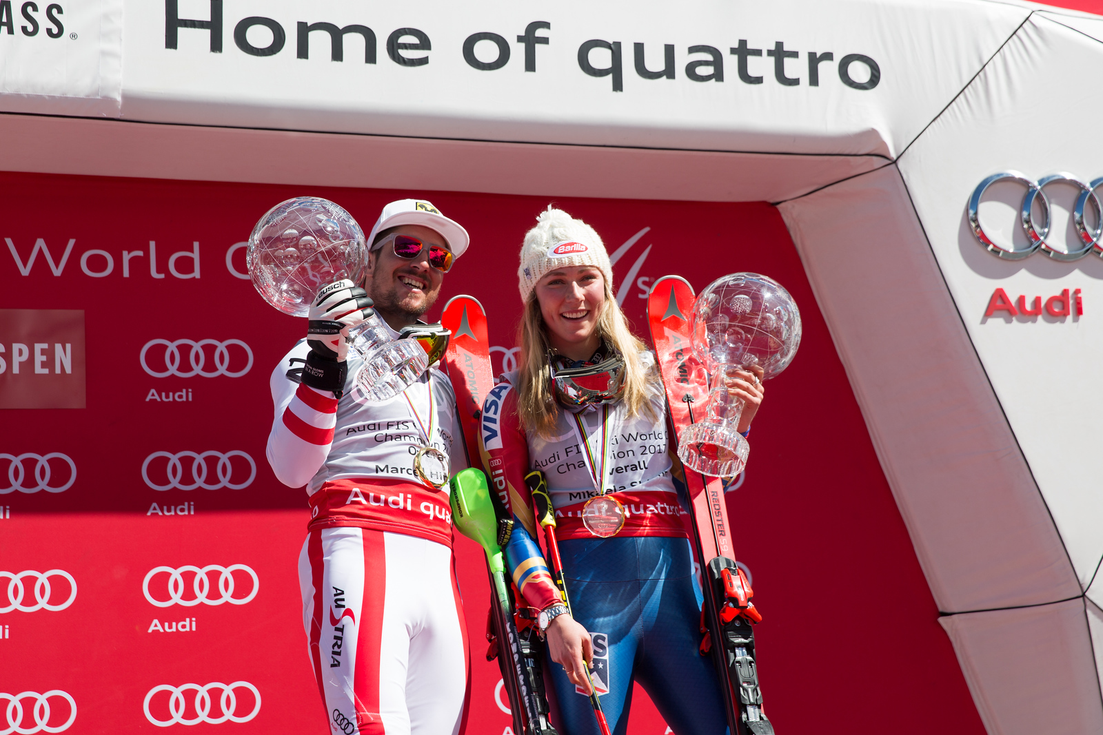 Marcel Hirscher and Mikaela Shiffrin 2016-17 Alpine Overall World Cup Champion Crystal Globe 2017 Audi FIS Ski World Cup finals in Aspen, CO. Photo: U.S. Ski Team