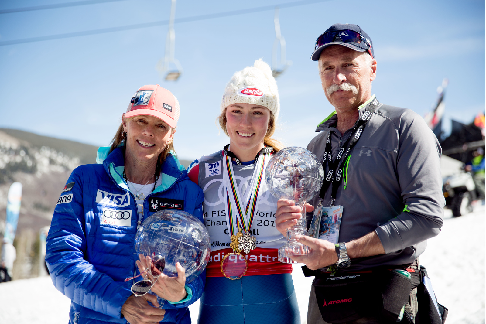 Mikaela Shiffrin with her parents 2016-17 Alpine Overall World Cup Champion Crystal Globe 2017 Audi FIS Ski World Cup finals in Aspen, CO. Photo: U.S. Ski Team