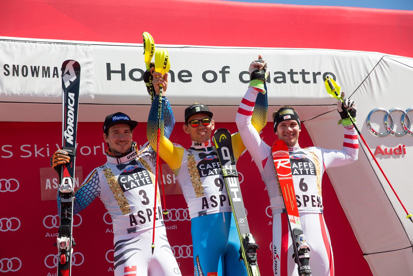 Felix Neureuther, Andre Myhrer and Michael Macho Slalom 2017 Audi FIS Ski World Cup finals in Aspen, CO. Photo: U.S. Ski Team