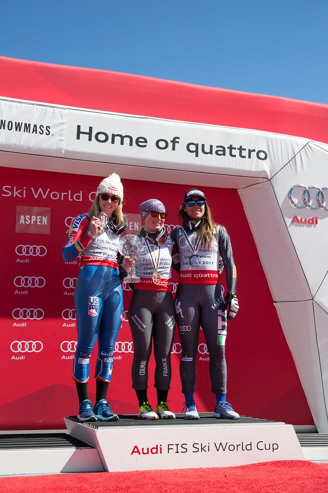 Mikaela Shiffrin, Tessa Worley and Sofia Goggia GS Overall Globe  2017 Audi FIS Ski World Cup finals in Aspen, CO. Photo: U.S. Ski Team