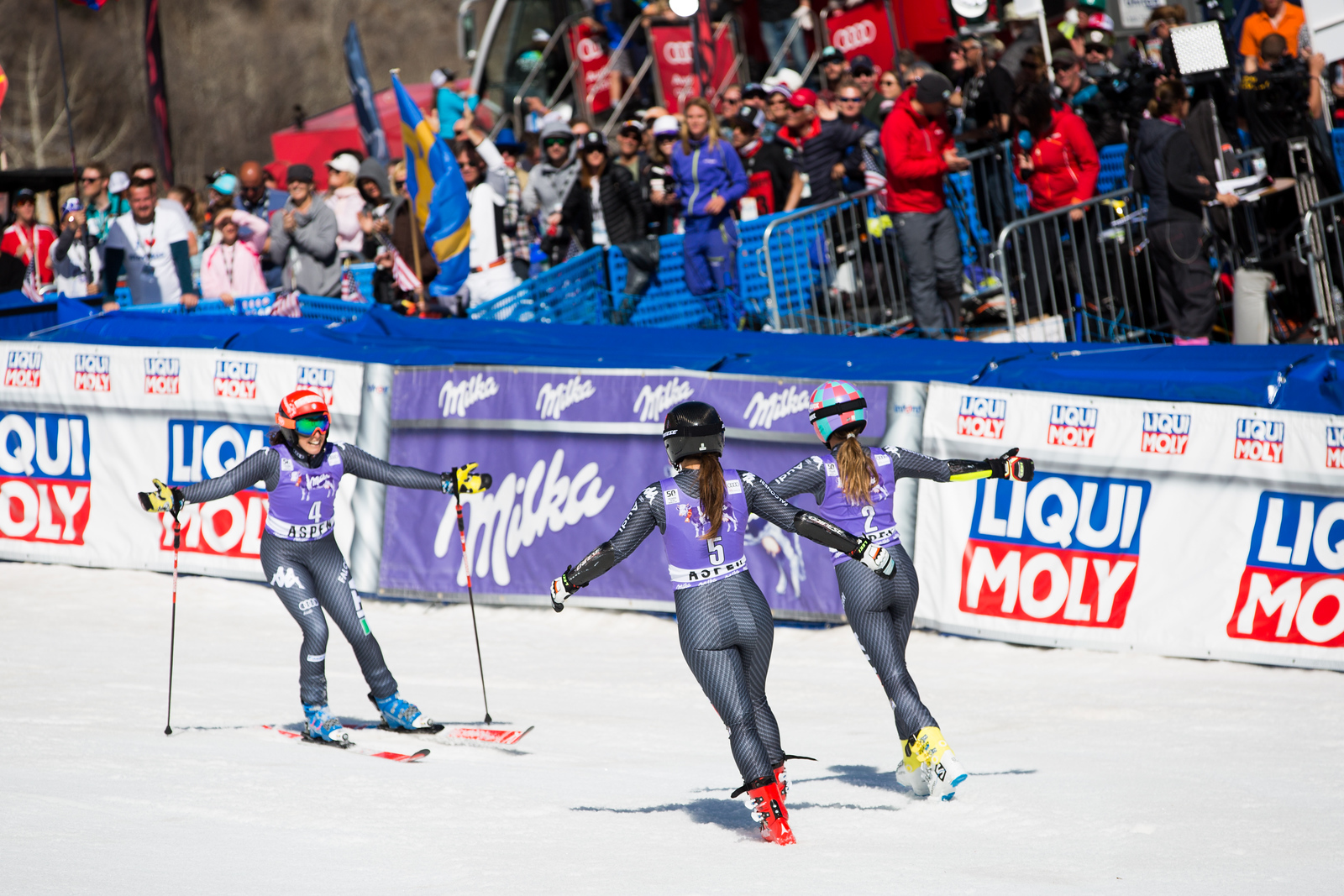 Federica Brignone, Sofia Goggia and Marta Bassino GS 2017 Audi FIS Ski World Cup finals in Aspen, CO. Photo: U.S. Ski Team