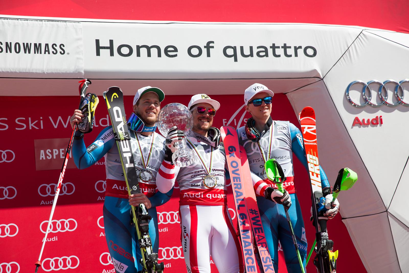 Kjetil Jansrud, Marcel HIrscher and Henrik Kristoffersen 2016-17 Alpine Overall World Cup Champion Crystal Globe 2017 Audi FIS Ski World Cup finals in Aspen, CO. Photo: U.S. Ski Team