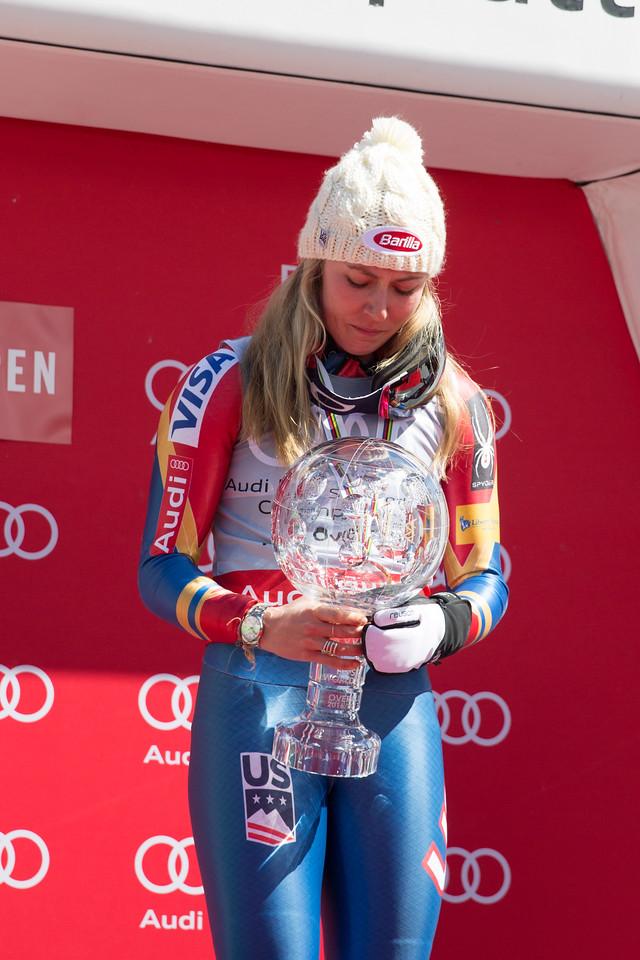 Mikaela Shiffrin 2016-17 Alpine Overall World Cup Champion Crystal Globe 2017 Audi FIS Ski World Cup finals in Aspen, CO. Photo: U.S. Ski Team
