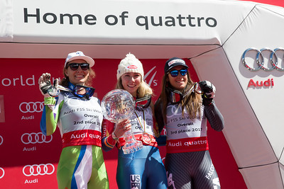 Ilka Stuhec, Mikaela Shiffrin and Sofia Goggia 2016-17 Alpine Overall World Cup Champion Crystal Globe 2017 Audi FIS Ski World Cup finals in Aspen, CO. Photo: U.S. Ski Team