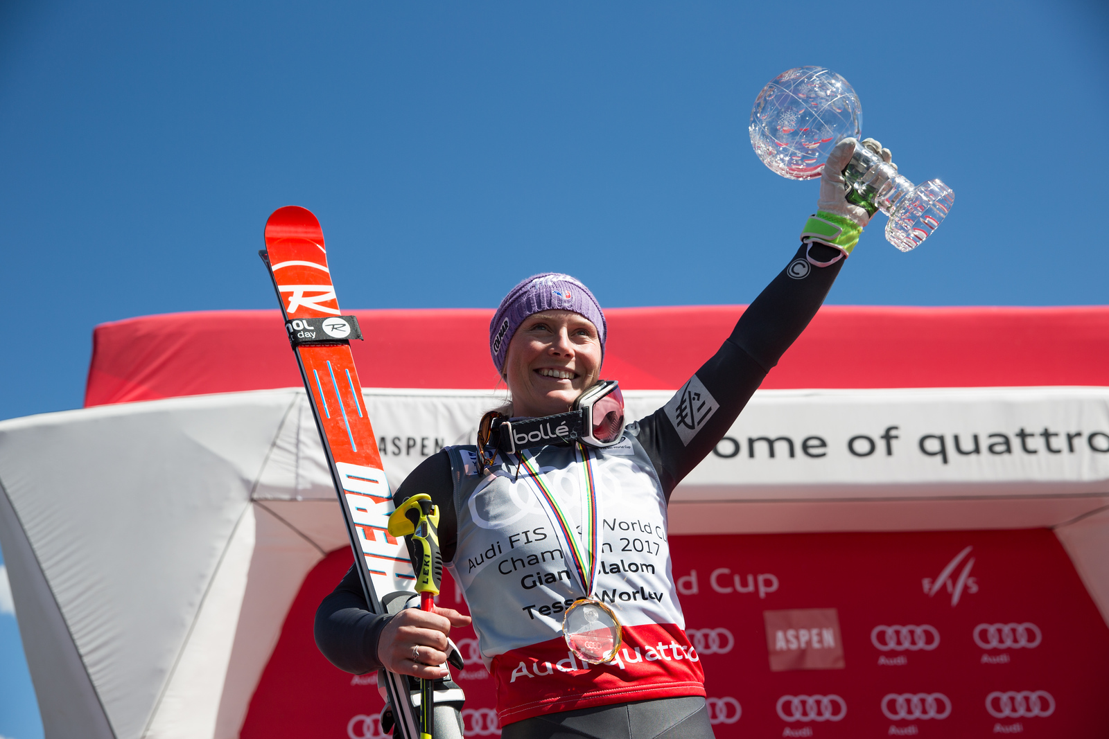 Tessa Worley GS Overall Globe  2017 Audi FIS Ski World Cup finals in Aspen, CO. Photo: U.S. Ski Team