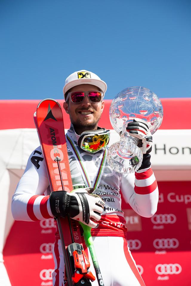 Marcel Hirscher 2016-17 Alpine Overall World Cup Champion Crystal Globe 2017 Audi FIS Ski World Cup finals in Aspen, CO. Photo: U.S. Ski Team