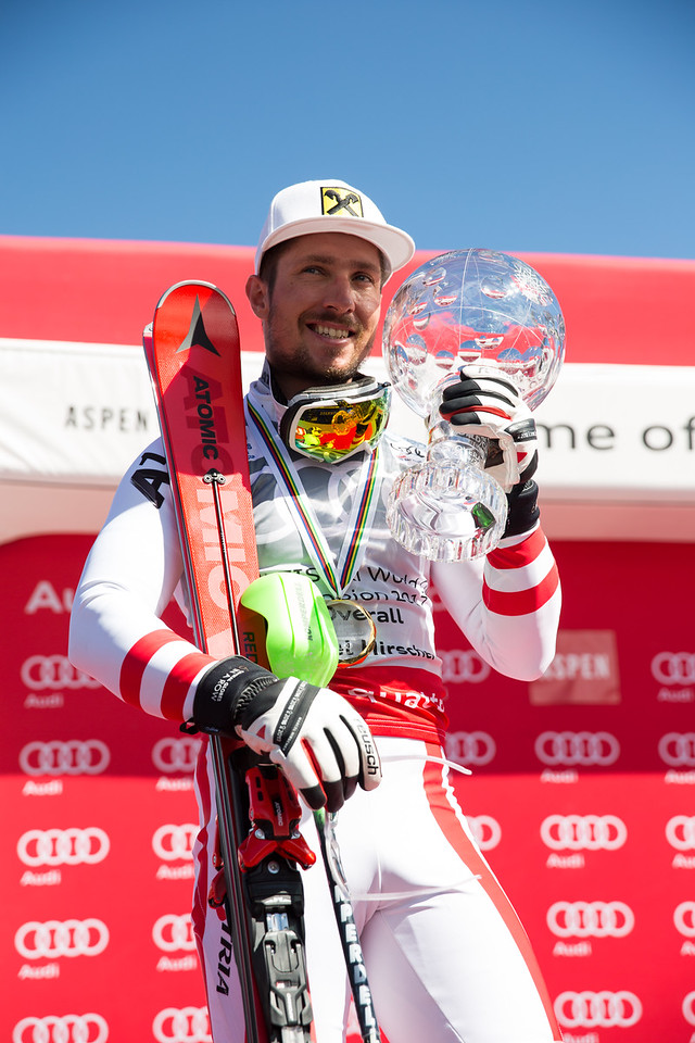 Marcel Hirscher 2016-17 Alpine Overall World Cup Champion Crystal Globe 2017 Audi FIS Ski World Cup finals in Aspen, CO. Photo: U.S. Ski Team