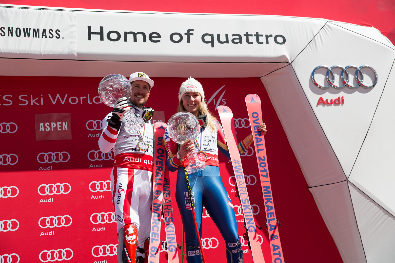 Marcel Hirscher and Mikaela Shiffrin 2016-17 Alpine Overall World Cup Champion Crystal Globe 2017 Audi FIS Ski World Cup finals in Aspen, CO. Photo: U.S. Ski Team