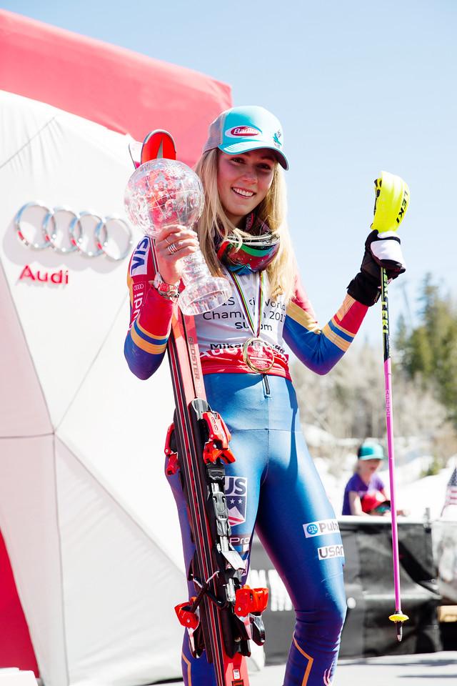 Mikaela Shiffrin Overall Slalom Globe winner 2017 Audi FIS Ski World Cup finals in Aspen, CO. Photo: U.S. Ski Team