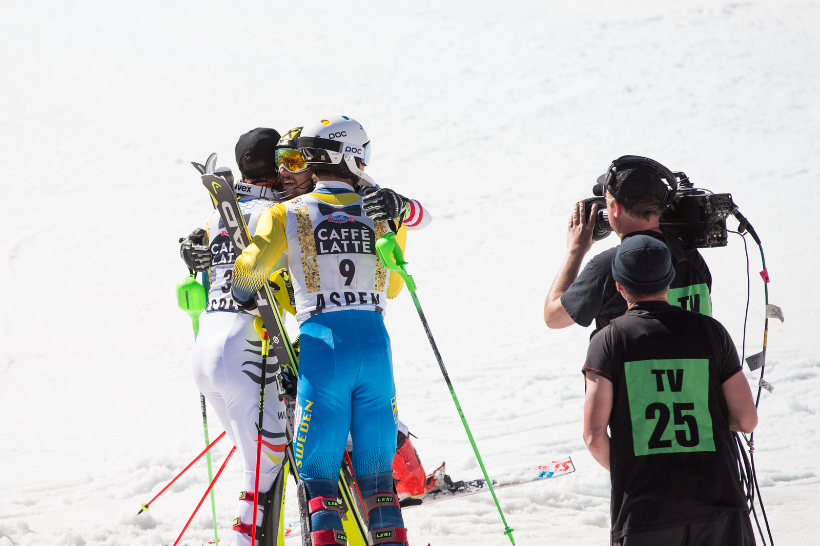 Marcel HIrscher, Felix Neureuther and Andrew Myhrer Slalom 2017 Audi FIS Ski World Cup finals in Aspen, CO. Photo: U.S. Ski Team