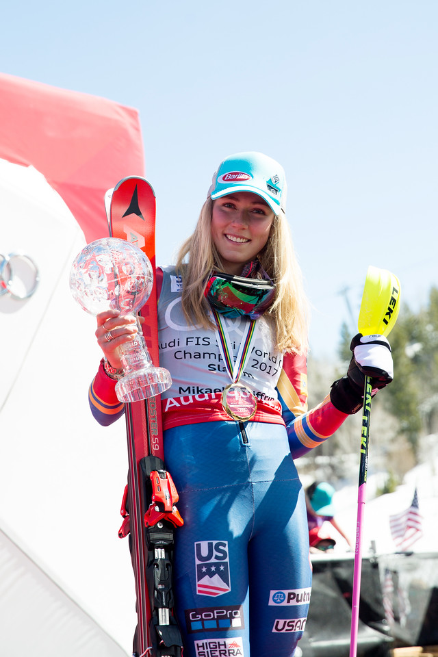 Mikaela Shiffrin Overall Slalom Globe winner 2017 Audi FIS Ski World Cup finals in Aspen, CO. Photo: U.S. Ski Team