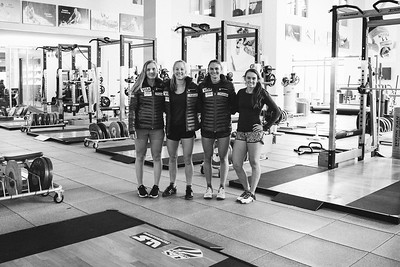 (l-r) Nina O'Brien, Patricia Mangan, Alice Merryweather and Galena Wardle U.S. Ski Team workout at the Center of Excellence in Park City, UT Photo: U.S. Ski Team
