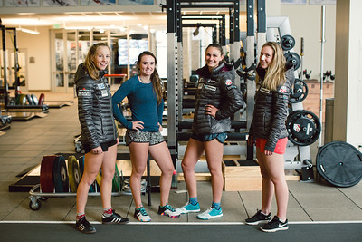 (l-r) Patricia MAngan, Galena Wardle, Alice Merryweather and Nina O'Brien U.S. Ski Team workout at the Center of Excellence in Park City, UT Photo: U.S. Ski Team