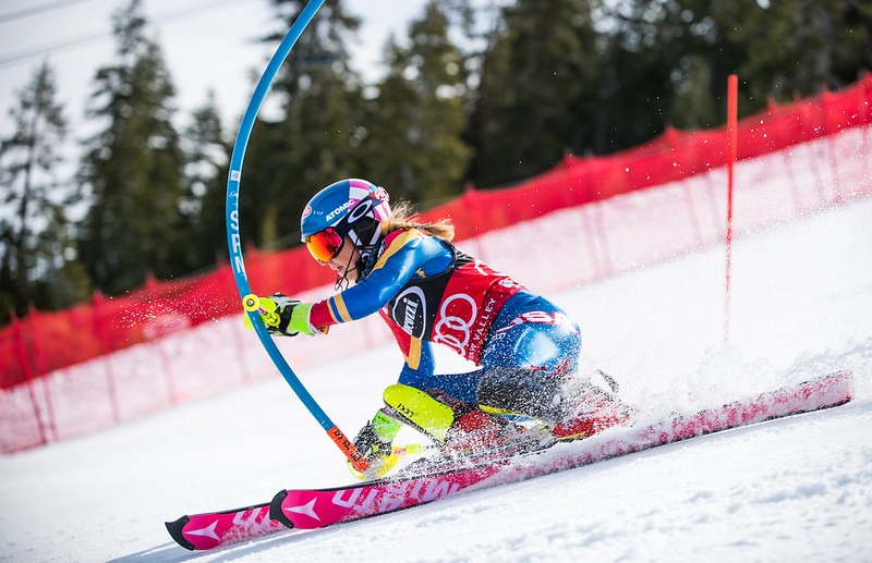 Mikaela Shiffrin<br /> Slalom<br /> 2017 Audi FIS Alpine World Cup at Squaw Valley, CA<br /> Photo © Jon Margolis