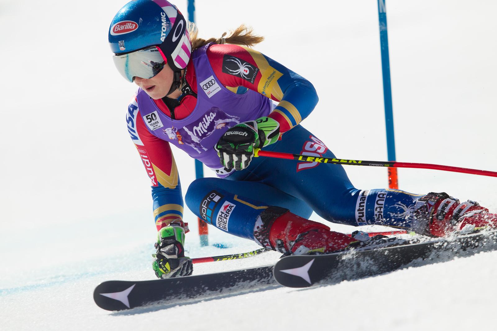 Mikaela Shiffrin GS 2017 Audi FIS Ski World Cup finals in Aspen, CO. Photo © Cody Downard