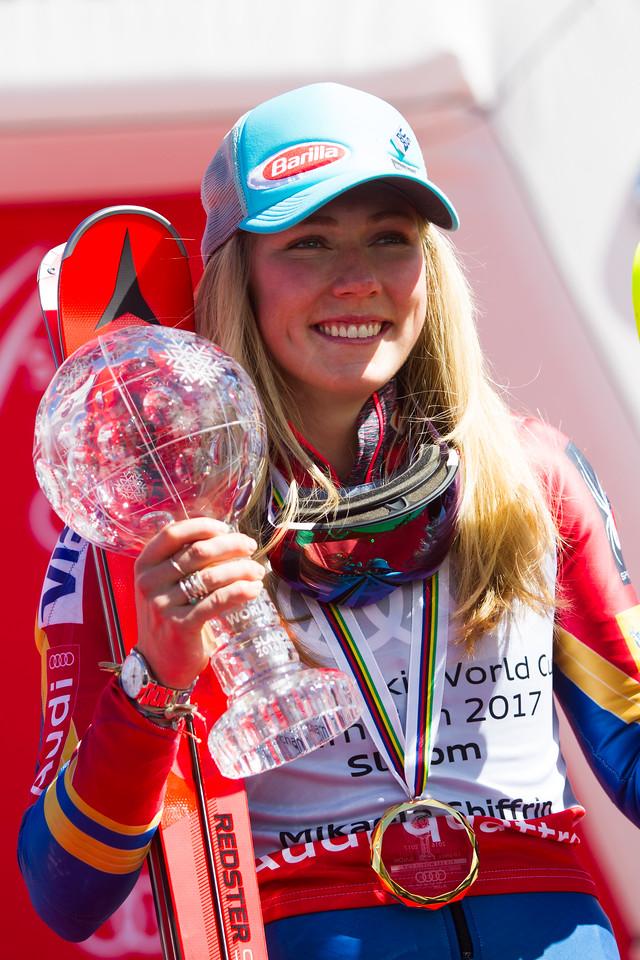 Mikaela Shiffrin Overall Slalom Globe 2017 Audi FIS Ski World Cup finals in Aspen, CO. Photo © Cody Downard