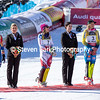 Mikaela Shiffrin, Wendy Holdener and Frida Hansdotter<br /> Slalom<br /> 2017 FIS Alpine World Championships in St. Moritz, Switzerland<br /> Photo © Steven Earl