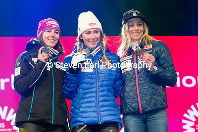Wendy Holdener, Mikaela Shiffrin, Frida Hansdotter Slalom 2017 FIS Alpine World Championships in St. Moritz, Switzerland Photo © Steven Earl
