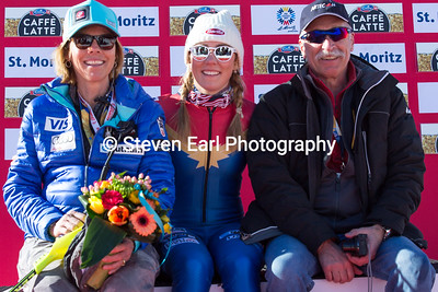 Mikaela Shiffrin with her parents Eileen and Jeff Slalom 2017 FIS Alpine World Championships in St. Moritz, Switzerland Photo © Steven Earl