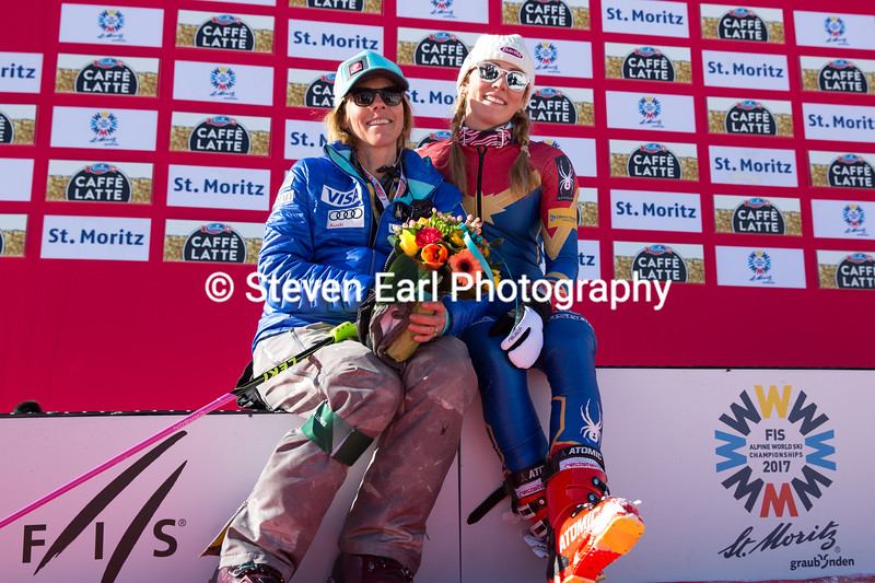 Mikaela Shiffrin with her mother, Eileen<br /> Slalom<br /> 2017 FIS Alpine World Championships in St. Moritz, Switzerland<br /> Photo © Steven Earl