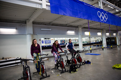 Breezy Johnson, Alice Merryweather and Stacey Cook U.S. Women's Alpine Ski Team speedskating training at the Olympic Oval Photo: U.S. Ski & Snowboard