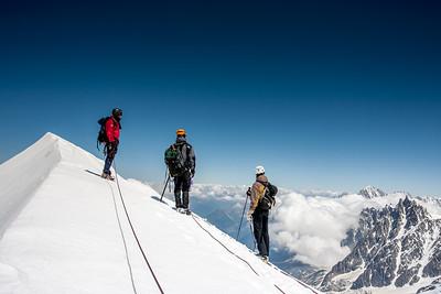Ascending the Bosses Ridge, Mt. Blanc