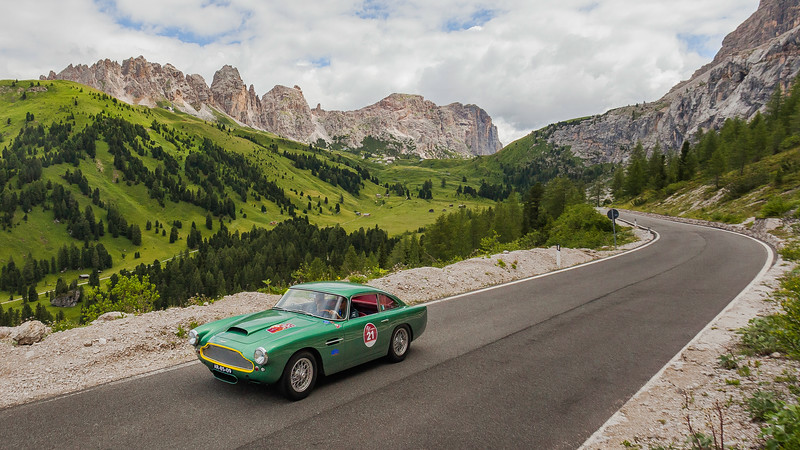 Aston Martin, Passo Gardena, Alps, Italy