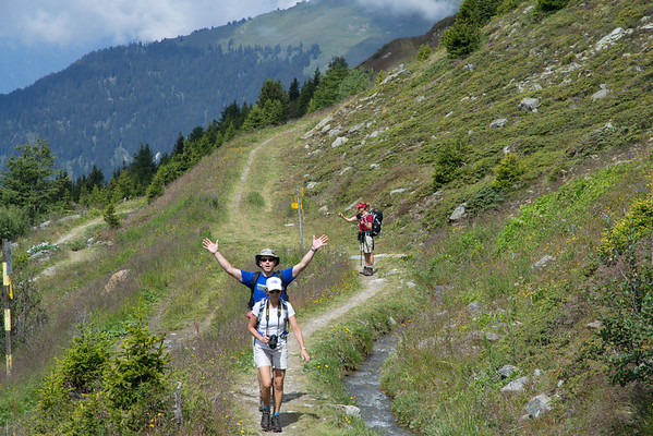 "Hiking above Verbier on a ""bisse"" route, following ancient irrigation channels."