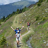 """Hiking above Verbier on a """"bisse"""" route, following ancient irrigation channels."""