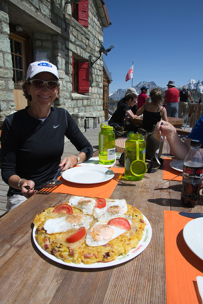 Rösti done just right on a hiking break at Cabane de Dix.