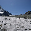 Hiking from Cabane de Dix along the glacier toward Riedmatten pass. Heading toward Arolla.