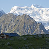 The morning view of Grand Combin above Louvie Hut.