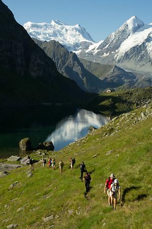 The crew hiking up from Louvie hut and Lac Louvie toward Prafleuri.