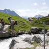 This area, hiking from Hohtürli, is known as Oberberg. The cable is new in 2011. A steady and adventurous way to pass the glacier run off. Don't worry--there is a wooden bridge around the corner if you're not feeling so adventurous!