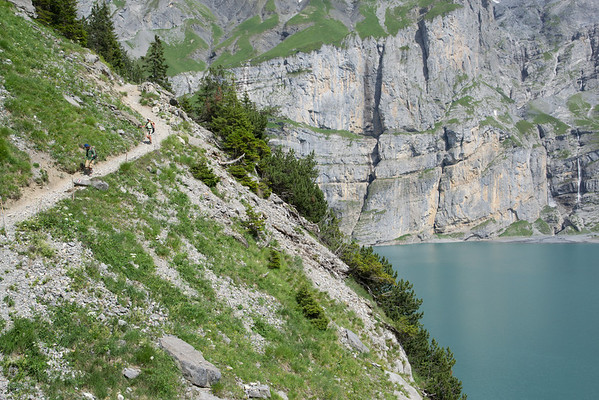 Always well marked and well maintained. Can you spot the trail marker on the trail above Oeschinensee?