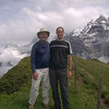 Matt Brown and Brant Kilber, Alpinehikers guides, at the Wasenegg ridge above Murren with the Jungfrau mountain in the background.