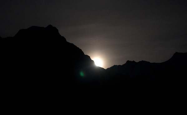July 2011--a capture of the full moon rising over the Jungfrau from Mürren.