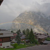 A rainy day view from home in Mürren. The peak behind the rainbow is known as Schwarz Mönch.