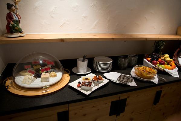 Part of the dinner spread at the lovely Hotel Europe in Zermatt.