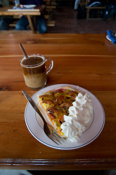 Coffee and fruit torte... one of the rewards of hiking all the way to Hornli hut, high on the Matterhorn at 11,000 ft!