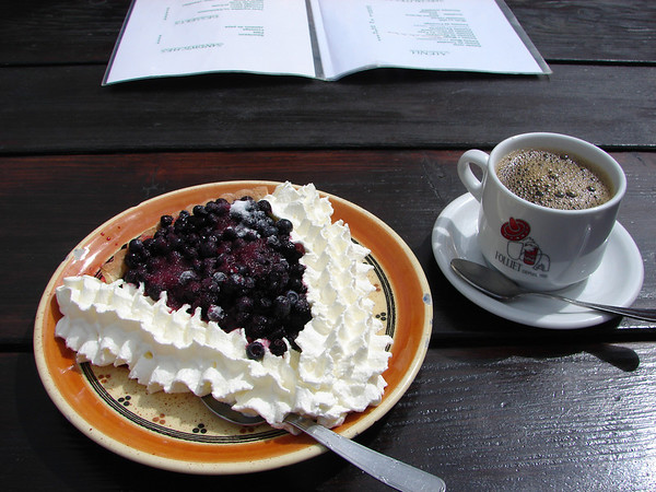 The blueberry torte at Miage is piled with fresh blueberries.