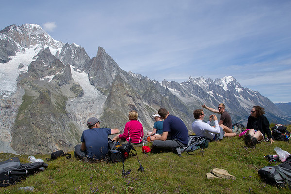 Lunch break above Courmayeur with Mont Blanc in the background.