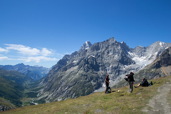 hiking across the Ferret pass between Italy and Switzerland on the TMB
